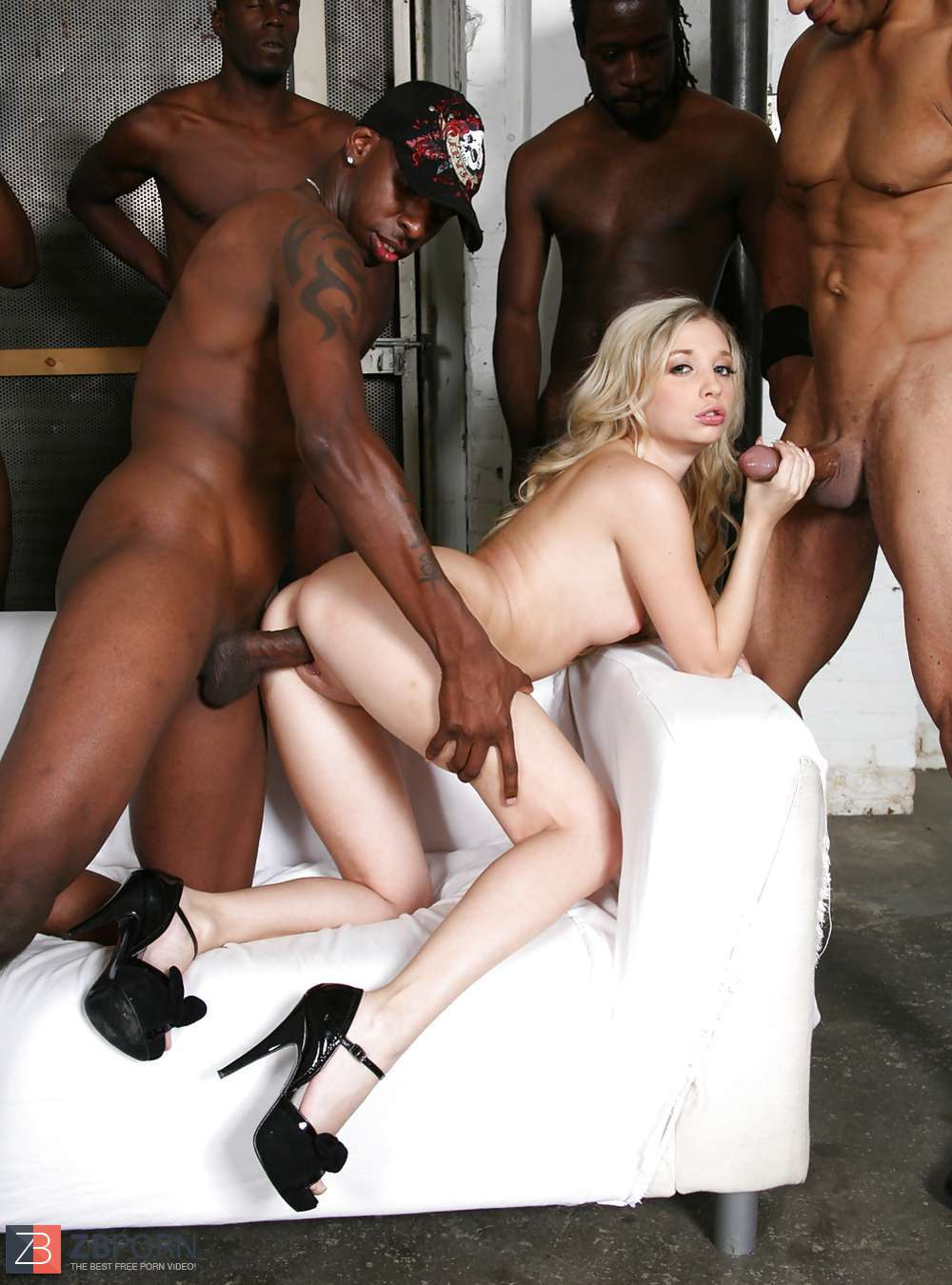 Black gangbang for hot blonde
